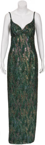 Movie/TV Memorabilia:Costumes, Randy McLaughlin of Jeran Collection - Beaded Green EveningGown....