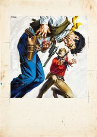 "A Fistful of Dollars (Unidis, 1964). Signed Original Artwork in Tempera by Sandro Simeoni (18"" X 25"") and orig..."