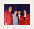 Autographs:U.S. Presidents, Apollo 11 & Apollo 17: Color Photo Signed on the Mat by NeilArmstrong, Gene Cernan, and George Bush....