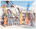 """Autographs:Celebrities, """"Mercury Seven"""" NASA Astronaut Group One Color Photo Signed byAll...."""