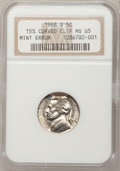Errors, 1968-S 5C Jefferson Nickels Five Cent 15% Curved Clip MS65 NGC. NGCCensus: (63/120). PCGS Population (211/99). Mintage: 10...