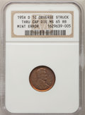 Errors, 195X 1C Lincoln Small Cents Obverse Struck Thru Cap Die MS65 RedBrown NGC. NGC Census: (94/555). PCGS Population (296/475)...