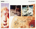 Autographs:Celebrities, Apollo 11 Color Photo Signed by Neil Armstrong and Buzz Aldrin. ...