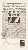 Autographs:Celebrities, Apollo 8 Crew-Signed New York Times Front Page Facsimile....