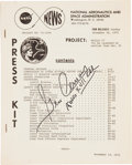 "Explorers:Space Exploration, Apollo 17 ""Press Kit"" Signed by Mission Commander Gene Cernan. ..."