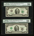 Error Notes:Inverted Third Printings, Fr. 1935-A $2 1976 Federal Reserve Notes. Two Consecutive Examples.PMG Choice About Unc 58 EPQ.. ... (Total: 2 notes)