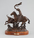 Western, JOHN D. FREE (American, b.1929). Whoops and Hoofbeats, 1999. Bronze. 17 inches (43.2 cm) high. Ed. 2/100. Signed, titled...