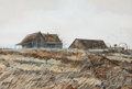 Western, MIKE LARSEN (American, b.1945). The Old Farm. Watercolor on paper. 12 x 18 inches (30.5 x 45.7 cm). Signed lower left: ...