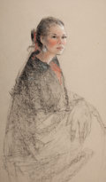 American, MIKE LARSEN (American, b.1945). Seated Woman . Charcoal andpastel on paper . 36 x 21 inches (91.4 x 53.3 cm). Signed il...