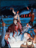 Western, BRUMMETT ECHOHAWK (American, 1922-2006). Midnight Revelry. Gouache on paper. 11 x 8 inches (27.9 x 20.3 cm). Signed lowe...