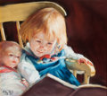 American:Western, PATTY REID (American, 20th Century). Storytime Dolls, 1987.Pastel on board. 10 x 11-3/4 inches (25.4 x 29.8 cm). Signed...