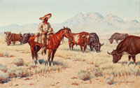 JOSE ACEVES (Mexican/American, 1909-1968) Landscape with Cattle Oil on canvas 15 x 24 inches (38