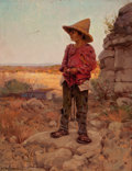 Texas, JULIAN ONDERDONK (American, 1882-1922). Goat Herder at the SanAntonio Quarry, 1909. Oil on panel. 9 x 7 inches (22.9 x ...