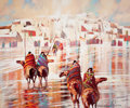 Paintings, B.C. NOWLIN (American, b. 1949). Indian Riders Approaching the Pueblo. Oil on canvas. 50 x 60 inches (127 x 152.4 cm). S...