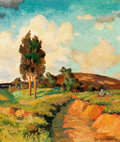 Texas, LOIS HOGUE SHAW (American, 1897-2001). Figure in aLandscape, 1931. Oil on cardboard. 14 x 12 inches (35.6 x 30.5cm). S...