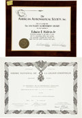 Explorers:Space Exploration, Buzz Aldrin: Two Important 1969 Awards Originally from His PersonalCollection....