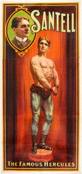 Antiques:Posters & Prints, Santell the Strongman: Imposing Three-Sheet Poster....