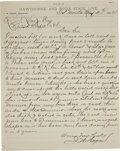 """Political:Miscellaneous Political, Road Repair on the California Stage Coach Line. This one-pageletter, approximately 8"""" x 10"""", written from the """"Office of Ha..."""