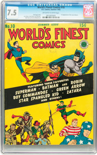 World's Finest Comics #10 (DC, 1943) CGC VF- 7.5 Off-white to white pages