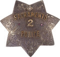 Western Expansion:Goldrush, Large Ornate Silver Sacramento, California Police Badge. ...