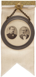 Political:Ferrotypes / Photo Badges (pre-1896), Cleveland & Hendricks: A Choice Jugate Badge from the 1884Election....