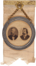 Political:Ferrotypes / Photo Badges (pre-1896), Blaine & Logan: A Choice Jugate Badge from the 1884Election....
