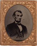 Political:Ferrotypes / Photo Badges (pre-1896), Abraham Lincoln: A Rare Tintype Badge in Most Unusual Intermediate Size....