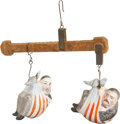 Political:3D & Other Display (pre-1896), Grover Cleveland and Benjamin Harrison: Bisque Figurines Campaign Novelty....