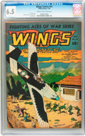 Golden Age (1938-1955):War, Wings Comics #41 (Fiction House, 1944) CGC FN+ 6.5 Cream tooff-white pages....