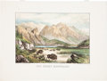 """Antiques:Posters & Prints, """"The Rocky Mountains"""": A Scarce, Colorful Currier & IvesPrint...."""