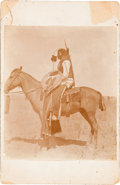 Western Expansion:Indian Artifacts, Red Horned Bull: An Original Cabinet Photo of this Ogalala WarriorWounded in the Battle of Little Bighorn. ...