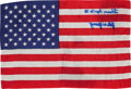 Explorers:Space Exploration, Apollo 16 Flown American Flag Directly from the Personal Collectionof Mission Commander John Young, Signed and Certified....