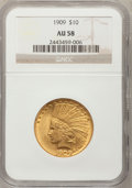 Indian Eagles: , 1909 $10 AU58 NGC. NGC Census: (340/1167). PCGS Population(331/896). Mintage: 184,700. Numismedia Wsl. Price for problem f...