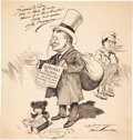 Political:Miscellaneous Political, Theodore Roosevelt: Terrific Signed Berryman Cartoon of TR and the Teddy Bear....