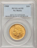 Indian Eagles: , 1908 $10 No Motto AU55 PCGS. PCGS Population (66/620). NGC Census:(23/570). Mintage: 33,500. Numismedia Wsl. Price for pro...
