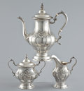 Silver Holloware, American:Coffee Pots, AN AMERICAN THREE PIECE SILVER COFFEE SERVICE . GorhamManufacturing Co., Providence, Rhode Island, circa 1958. Marks oncof...