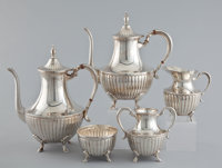 A MEXICAN FIVE PIECE SILVER COFFEE AND TEA SERVICE Maker unidentified, Taxco, Mexico, circa 1960 Marks: MAP