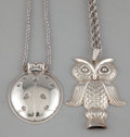 Silver Smalls:Other , TWO AMERICAN SILVER WHISTLES . Reed & Barton, Taunton,Massachusetts, circa 1990. Marks to owl: REED & BARTON, OWLWHISTLE... (Total: 2 Items)