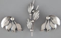 Silver Smalls:Other , A DANISH SILVER PAIR OF EARRINGS AND BROOCH . N.E. From,Copenhagen, Denmark, circa 1945. Marks to earrings and brooch:N.... (Total: 3 Items)
