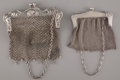 Silver Smalls:Other , TWO AMERICAN CHAIN MAIL PURSES, ONE SILVER AND ONE SILVER PLATED .Weizennegger Bros., Newark, New Jersey, circa 1915. Marks...(Total: 2 Items)