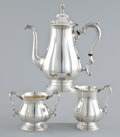 Silver Holloware, American:Coffee Pots, AN AMERICAN SILVER THREE PIECE COFFEE SERVICE . William Rogers& Co., Hartford, Connecticut, circa 1950. Marks: (anchor)R...