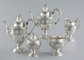 Silver Holloware, American:Tea Sets, AN AMERICAN SILVER FIVE PIECE TEA AND COFFEE SERVICE . WallaceSilversmiths, Inc., Wallingford, Connecticut, circa 1934. Mar...(Total: 6 Items)