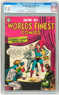 World's Finest Comics #73 (DC, 1954) CGC VF- 7.5 Cream to off-white pages