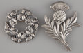 Silver & Vertu:Smalls & Jewelry, TWO AMERICAN SILVER BROOCHES . Danecraft, Providence, Rhode Island, circa 1950. Marks to both brooches: DANECRAFT, STERLIN... (Total: 2 Items)