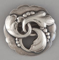 Silver Smalls:Other , A DANISH SILVER BROOCH . Georg Jensen, Inc., Copenhagen, Denmark,after 1945. Marks: GEORG JENSEN (in dotted oval),DE...