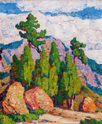 FROM A PRIVATE SOUTHERN CALIFORNIA COLLECTION  BIRGER SANDZÉN (American, 1871-1954) Pines and Junipers, M