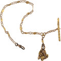 Western Expansion:Goldrush, California Golden Watch Chain with Mining Motif. ...