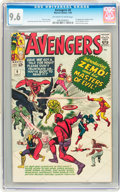 Silver Age (1956-1969):Superhero, The Avengers #6 (Marvel, 1964) CGC NM+ 9.6 Off-white to white pages....