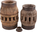 Western Expansion:Goldrush, Two Wood Wheel Hubs from Donner Party Conestoga Wagon. ... (Total:3 Items)