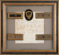 Military & Patriotic:Civil War, Brigadier General Shoulder Straps Worn by Gen. William T. Sherman at the Battle of Shiloh with Autograph Letter Signed Pre...